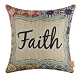 LINKWELL 18x18 inches Antique Religious Faith Burlap Throw Pillow Cover Cushion Cover (CC1337)