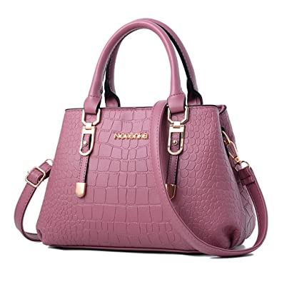 5f633972cc Nevenka Women Bags Handbag Shoulder Bags PU Leather Zipper Bags Purse  Crossbody Totes (PURPLE)