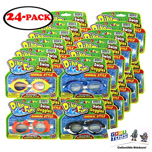 Dive Bundle - Animal Swim Goggles 24 Bundle Pack Dive Fun Dolphin (Blue), Fish (Yellow), Crab (Orange), Killer Whale (Black) Pool Goggles Summer Beach Goggles for Kids with GosuToys Stickers