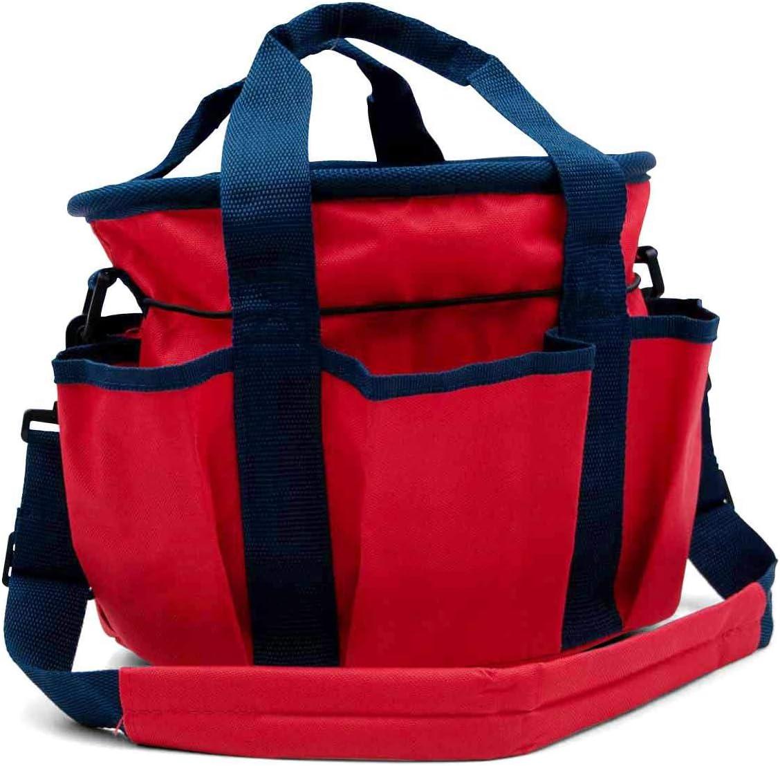 AMKA Bolsa de limpieza con correa ajustable + 6 compartimentos adicionales – para utensilios de limpieza de caballos, color rojo