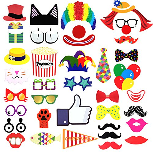 Photo Booth Props, Party Favors for Carnival,Wedding,Baby Show or Birthday Costume with Clown, Cat,Mustache,Red lip,Bowler, on Wooden Sticks.(36 Pcs)