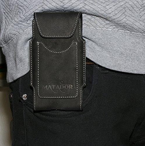 Echtleder Slim Design Vertikaltasche Apple iPhone 5 / 5S / 5C / SE Matador Handytasche Gürteltasche Crazy Black mit Magnetverschluss und Gürtelschlaufe EC./Kreditkartenfach