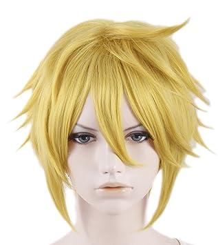 Mesky Peluca Cosplay de Link para Hombres Wig Zelda Pelo Natural Rubia para Anime Videojuego Halloween