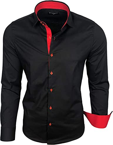 Baxboy Camisa de hombre de manga larga, para negocios, ocio, boda, fácil de planchar, ajustada, cuello Kent camisa B-500 negro, rojo XXL