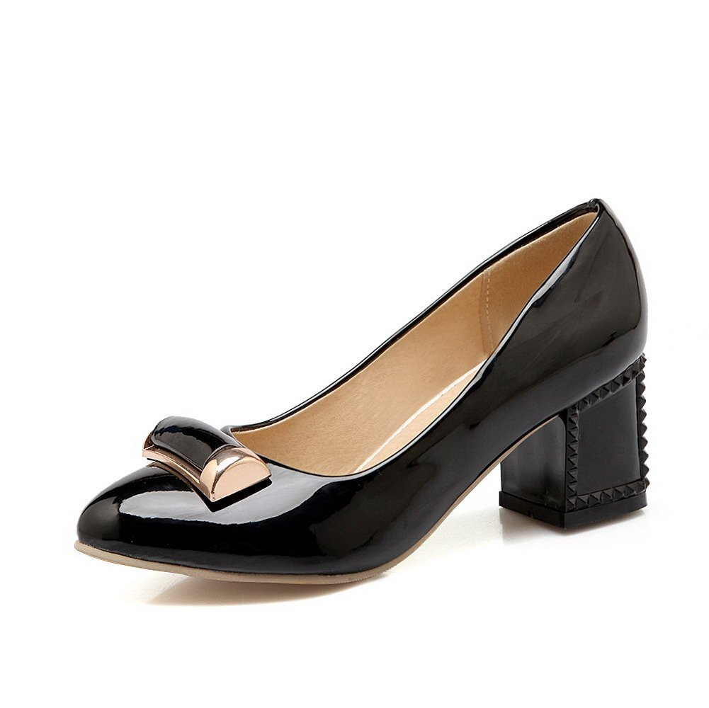 WeenFashion Women's Solid Patent Leather Kitten-Heels Pull-on Pointed Closed Toe Pumps-Shoes, Black, 42