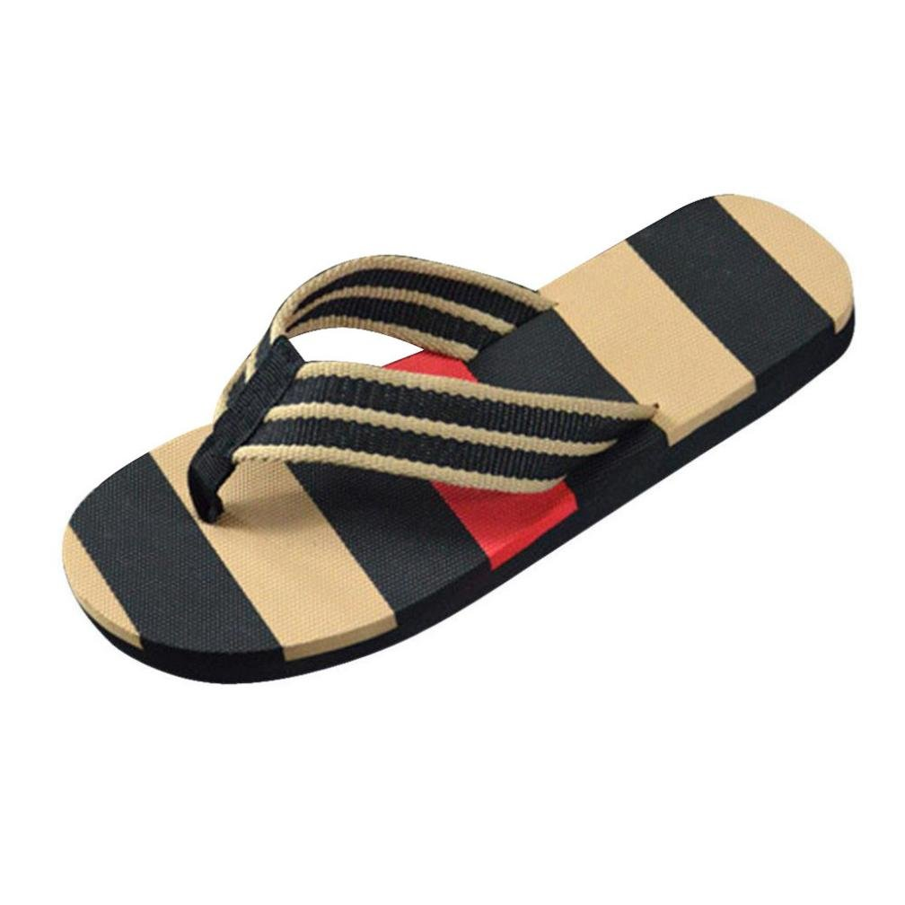 Inkach Mens Flip-Flops Sandals - Fashion Summer Sandals Beach Slippers Slide On Casual Flat Shoes (42(US:8.5), Black)