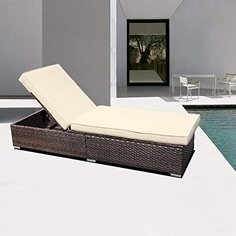 Outdoor Folding Reclining Pool Patio Yard Chaise Lounge Chairs Rattan Daybed Beach Recliner 1-Pack