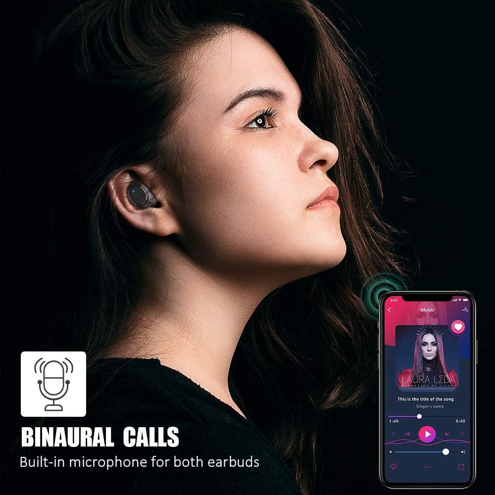 Auriculares Inal/ámbricos Bluetooth 5.0 en la Oreja con Caja de Carga 40 Horas de Duraci/ón,Sonido Est/éreo 3D HD,para iOS y Android-J11 Control T/áctil Micr/ófono Incorporado