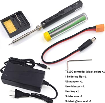 UY CHAN Original TS100 Digital OLED Programmable Pocket-size Smart Mini Portable Soldering Iron Kit Station Built-in Acceleration Sensors Black With B2 Tip【NO Power Supply】