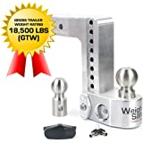 """Weigh Safe WS8-2.5-BA, 8"""" Drop Hitch, 2.5"""" Receiver 18,500 LBS GTW - Adjustable Aluminum Trailer Hitch Ball Mount w/Built-in Scale, 2 Stainless Steel Tow Balls, Keyed Lock, Lifetime Gauge Warranty"""