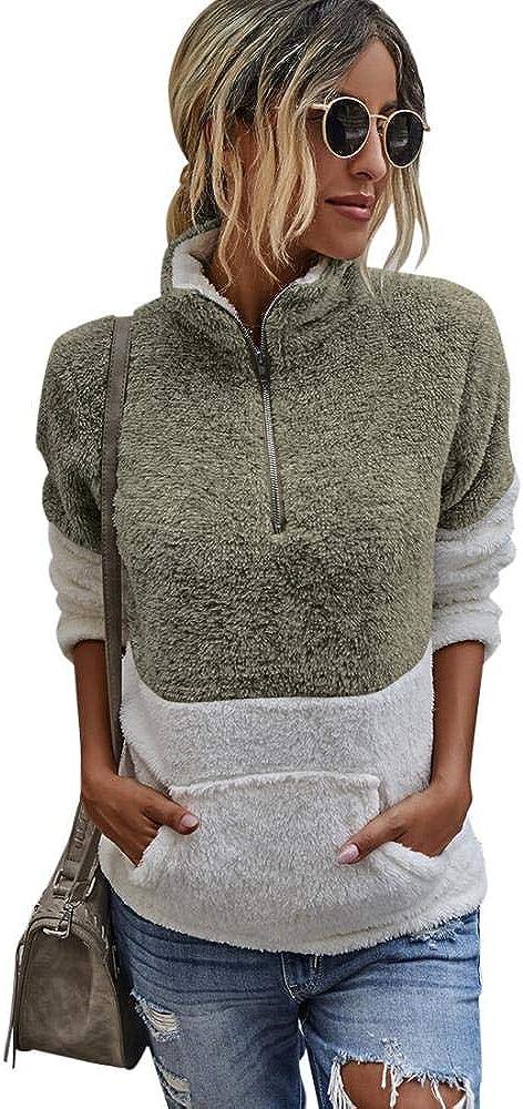 Comeon Women Fleece Pullover Long Sleeve Half Zipper Pockets Warm Jacket Coat Fuzzy Sweatshirt