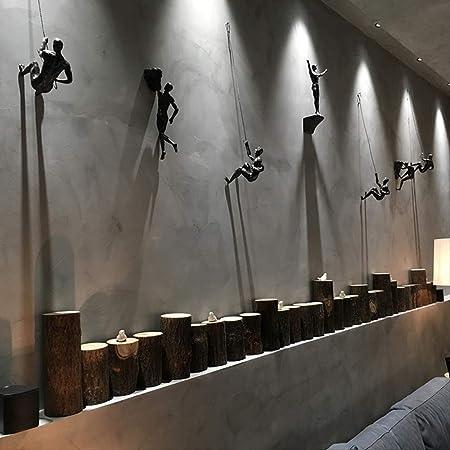 Wghz Estilo Industrial Escalada Hombre Resina Alambre de Hierro Decoración para Colgar en la Pared Escultura Figuras Creativo Retro Presente Estatua ...
