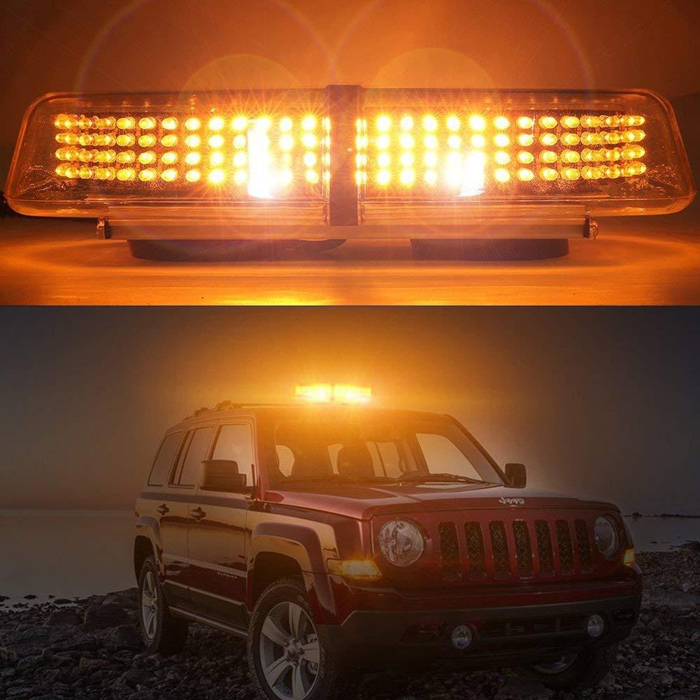 Big Hippo Car Strobe Light 240 LED 12V Amber Recovery Lights 7 Flash Modes Waterproof Car Emergency Light Warning Light Hazard Beacon with Magnetic Base for Van Car Truck Trailer RV Caravan