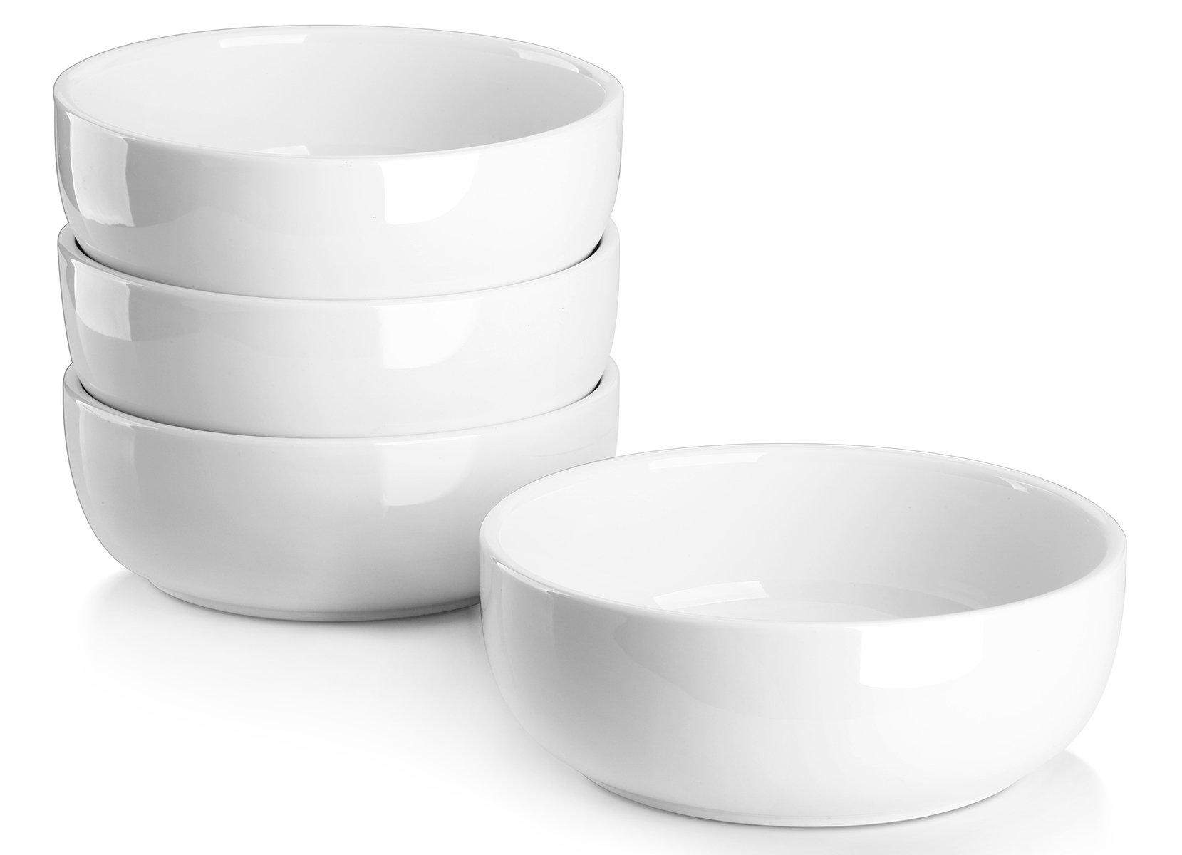 Lifver 20oz/6 inch Porcelain Soup/Cereal Bowls Set, Round & White, Set of 4