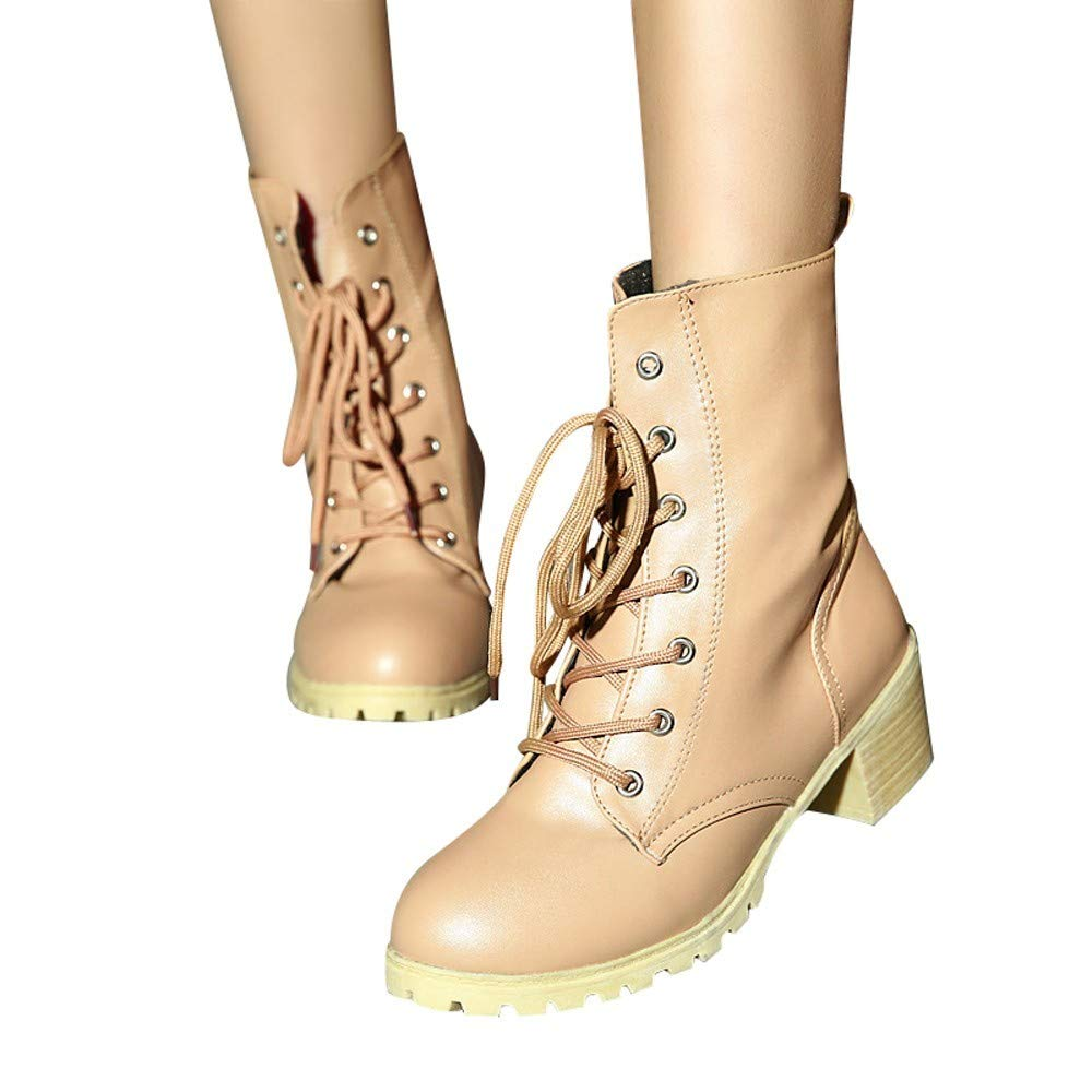 Gyoume Women Combat Boots Riding Ankle Boots Winter Lace Up Boots Shoes Casual Warm Booties