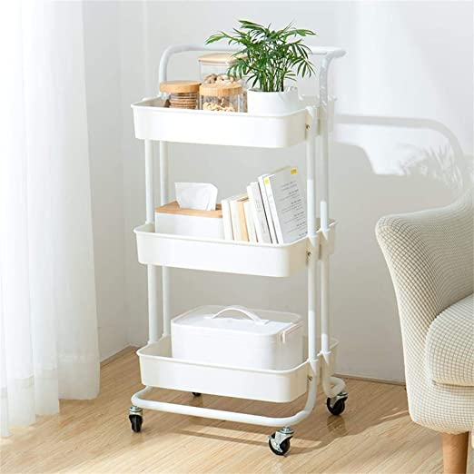 Micoe Utility Carts with Wheels, Practical Handle and ABS Storage Basket , 3 Tier Rolling Cart Organizer, White, H-T001W