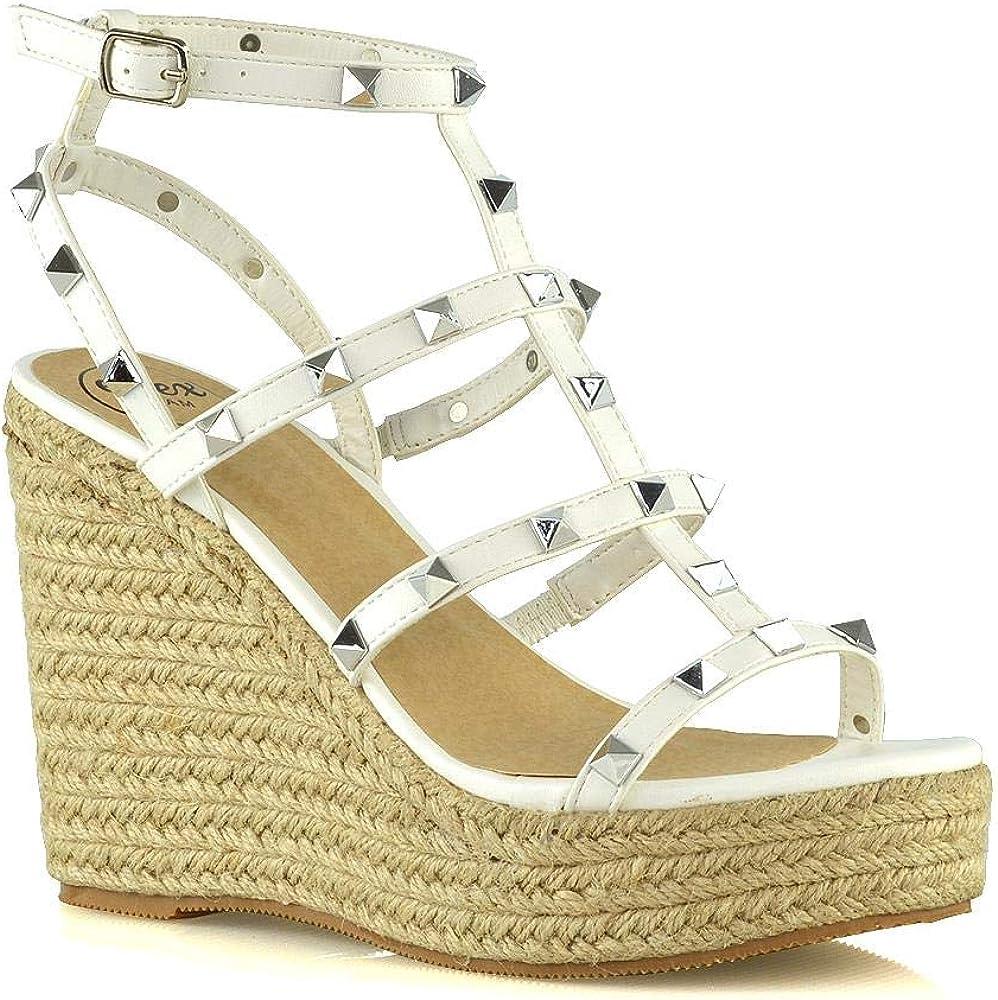 ESSEX GLAM Womens Platform Wedge Heel Sandals Ladies Studded Straps Espadrilles Ankle Strap Shoes Size 3-8