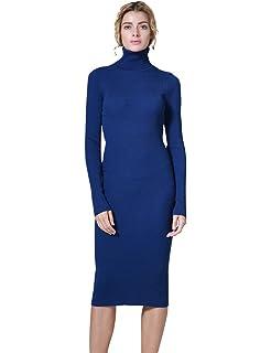 Amazon.com  Cable Stitch Women s Turtleneck Ribbed Sweater Dress ... 00127466cc95