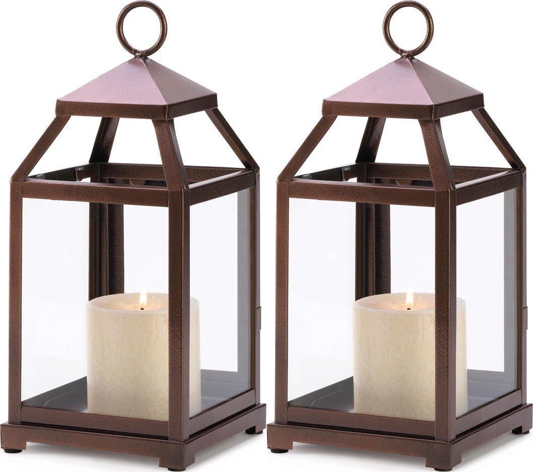 Thegood88 Set of 2 Bronze Contemporary Candle Holder Lantern Centerpices Decor