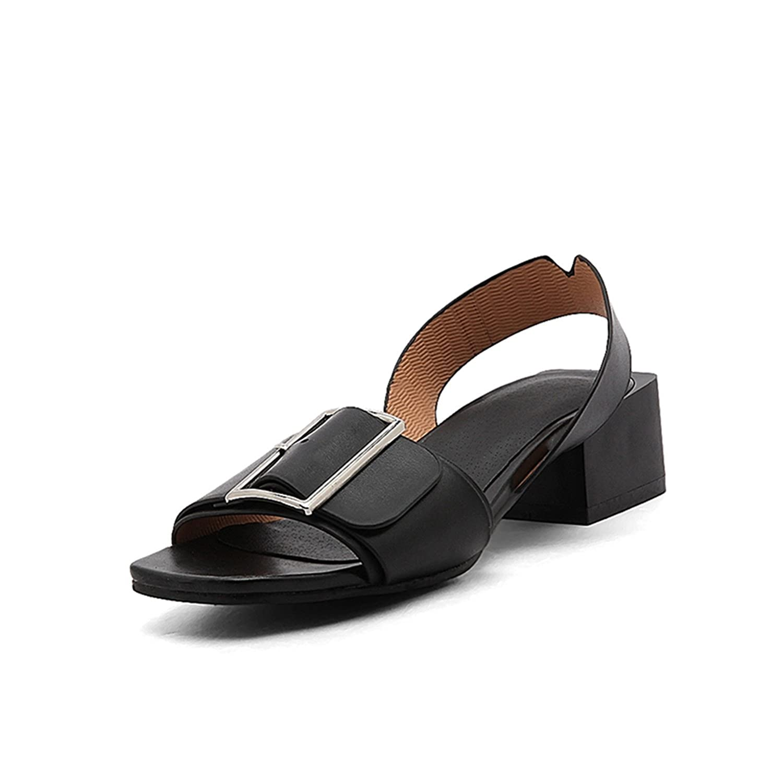 baqijian Shoes Women Shoes Woman Buckle Square Heels Date Casual Summer Sandals Shoes Women Big Size B07C26NYHN 9 B(M) US|Black