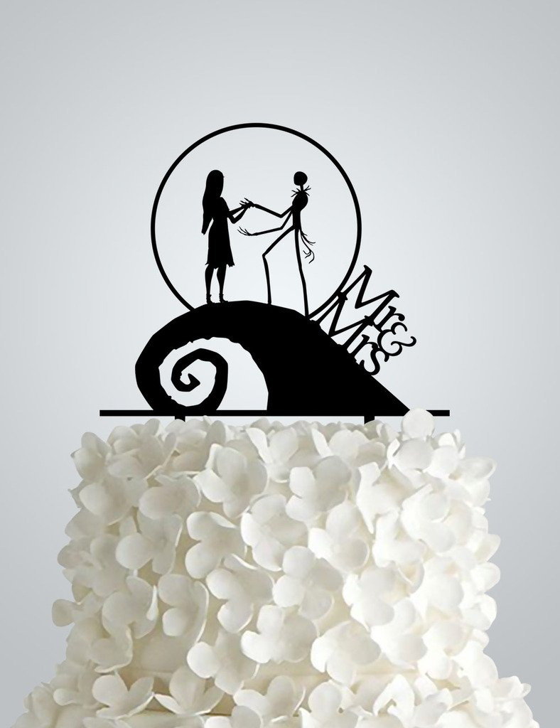 AWAC44S - Acrylic Wedding cake Topper inspired by Nightmare Before ...