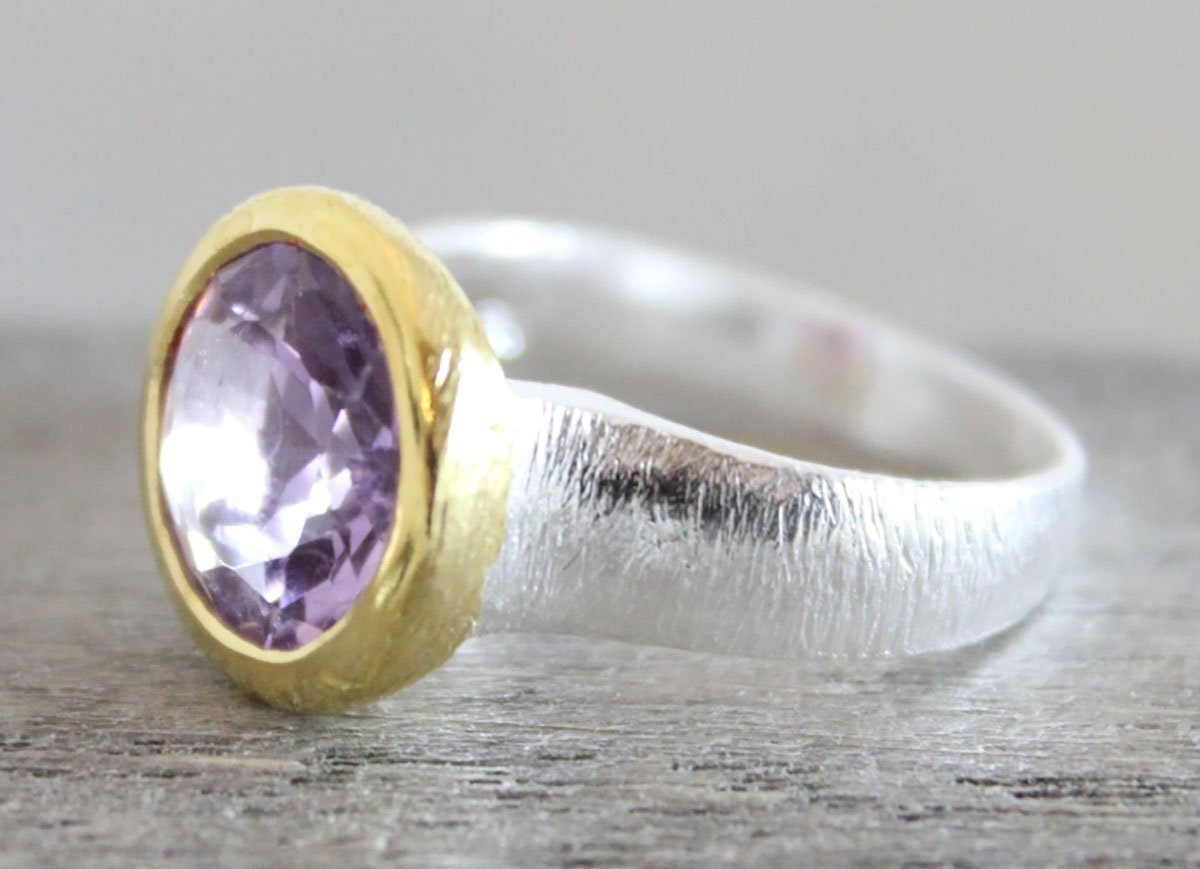Amethyst Mixed Metal Sterling Silver Ring size R 1//2 US size 9