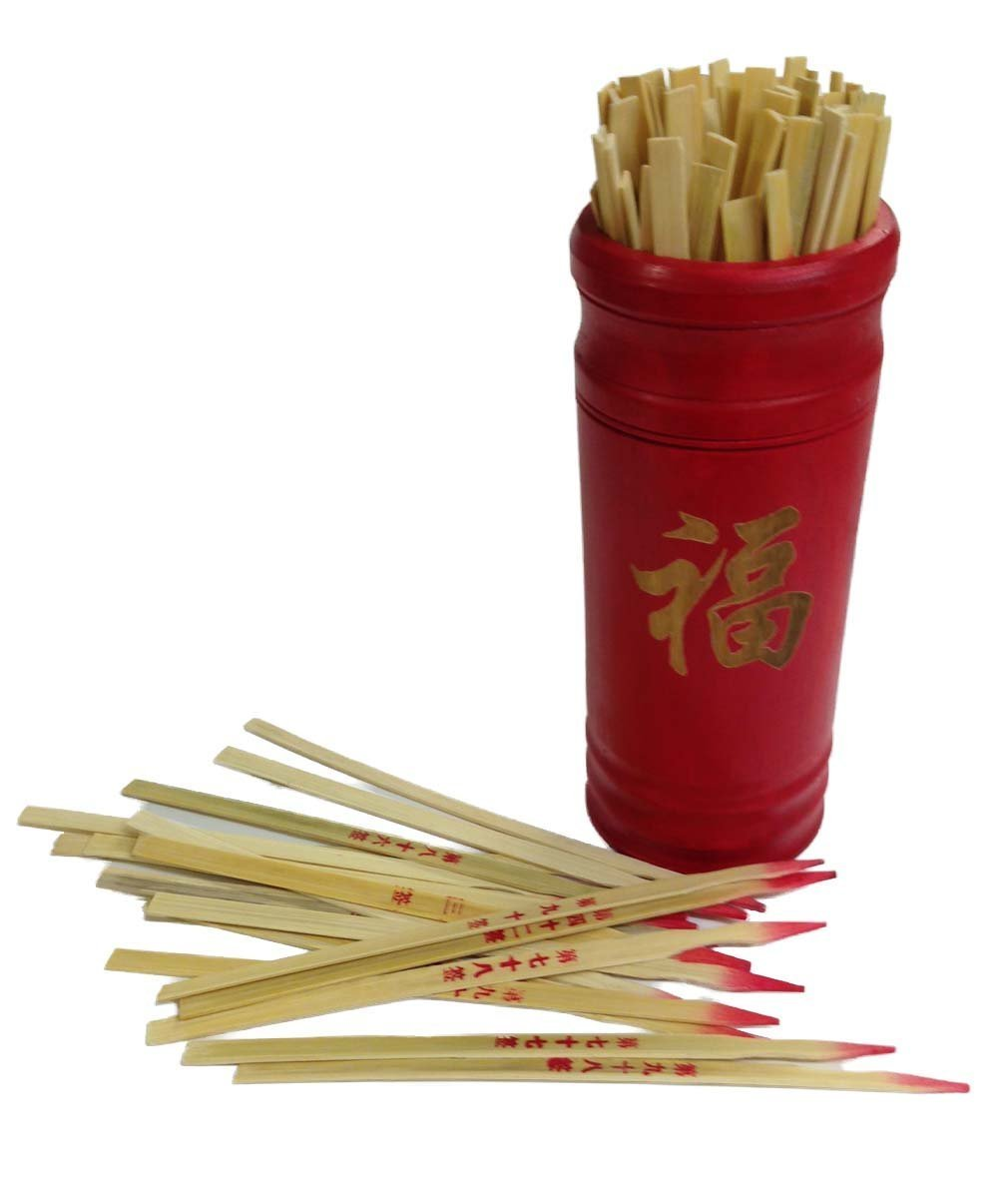 Chinese Fortune Telling Sticks W. Instruction Booklet Red Bamboo Cansiter Golden ''FU''