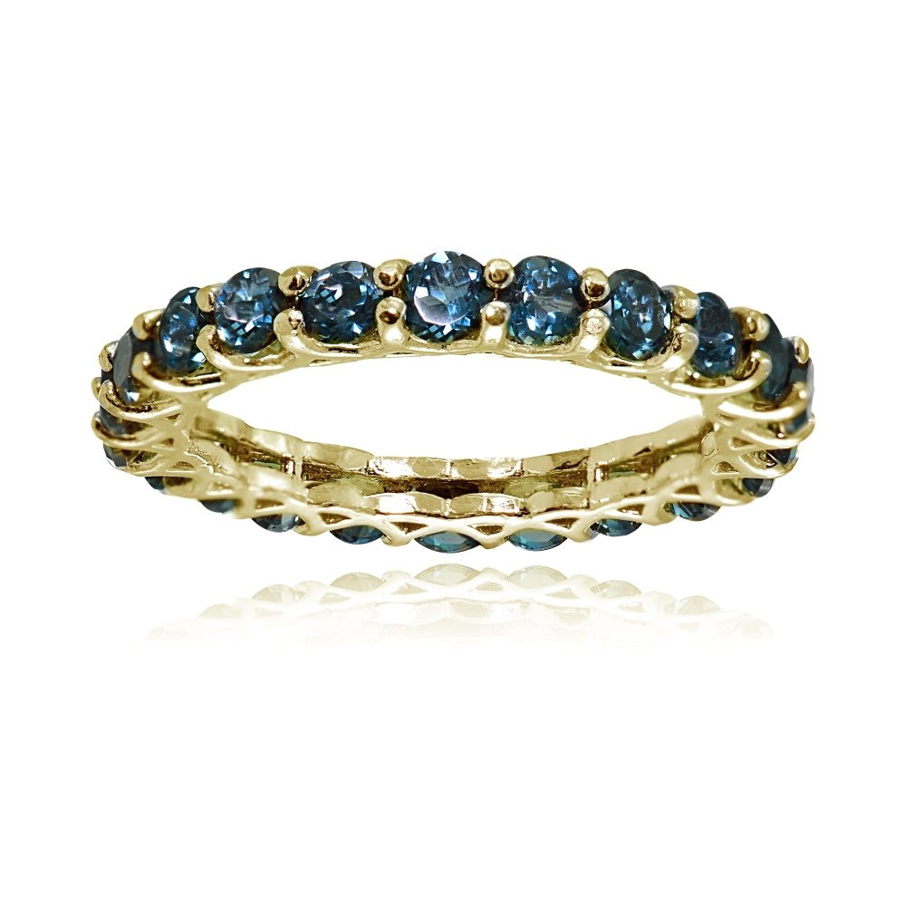 Ice Gems Yellow Gold Flashed Silver London Blue Topaz 3mm Round-Cut Eternity Ring, Size 5