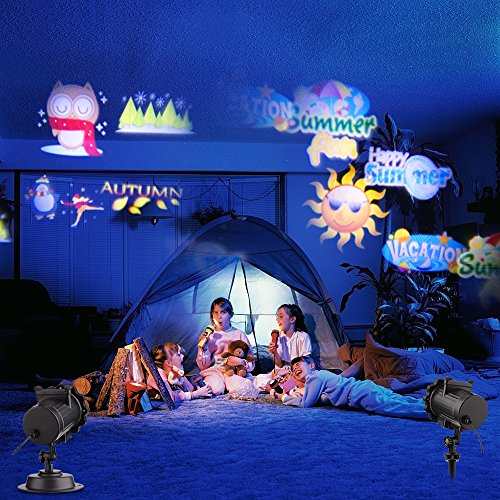 Outdoor LED Lighting, Festival RGB Gobo Projector Light,Projection Lights for All Season Holiday Xmas Decoration,12 Themed Slides Party Birthday, Waterproof Decor Spotlight Motion Auto - Cupid Yellow Ring