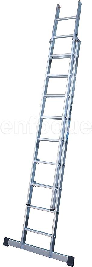 Escalera industrial de aluminio apoyo doble extensión manual 2 x 9 peldaños con barra estabilizadora serie excalibur: Amazon.es: Hogar