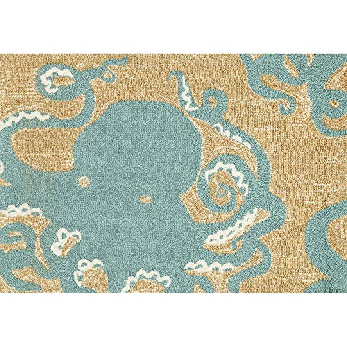 Liora Manne FTP31430204 Front Porch Whimsy Coastal Nautical Octopus Indoor/Outdoor Kids Room Area Rug 2'6