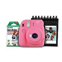 Kit com Câmera, Filme 10 Poses e Porta Fotos, Fujifilm, Instax Mini9, Rosa Flamingo