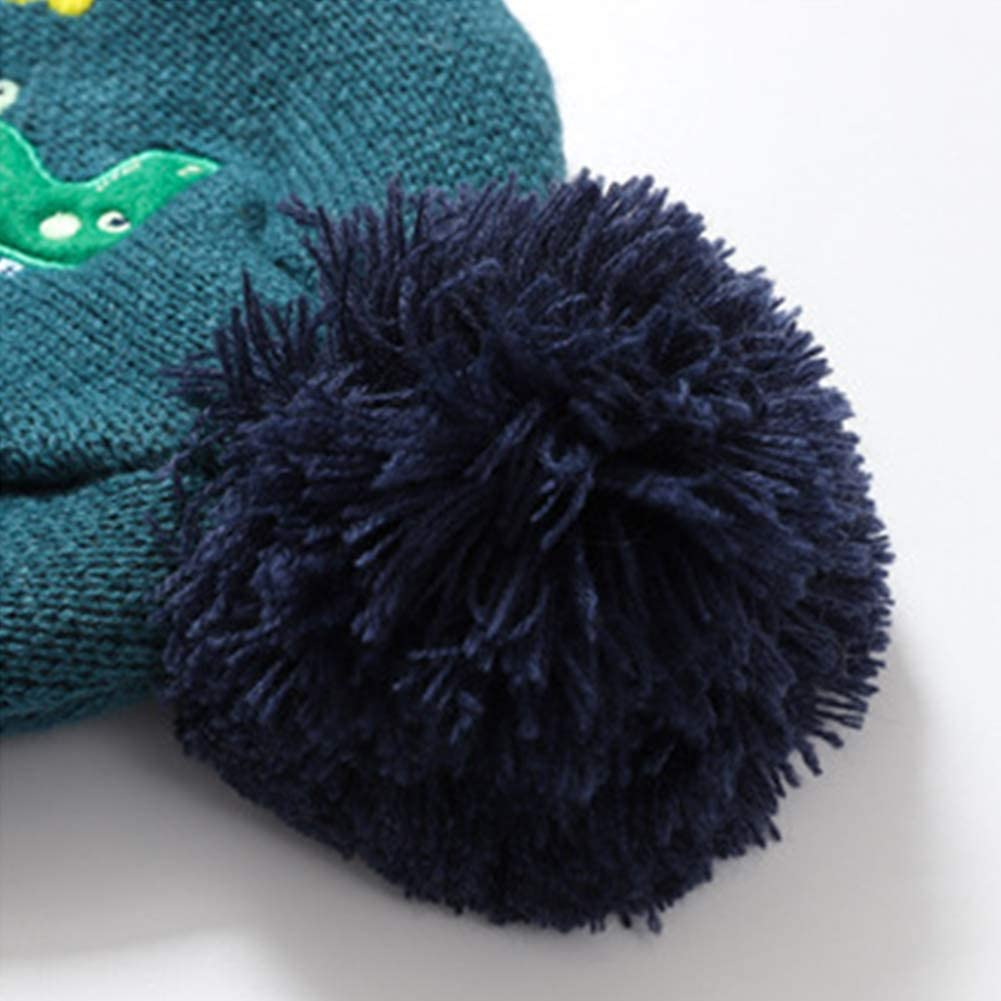 Warm Winter Unicorn Mittens Set for Girls Boys 3-8 Years CHUANGLI Toddler Kids Cute Pompom Knit Beanie Hat /& Gloves