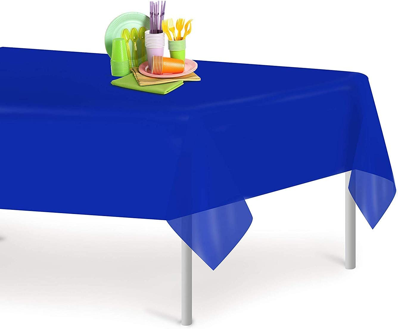 Premium Quality Disposable Rectangle Table Cloths - Blue Plastic Tablecloth for All Parties, 6pack (54 x 108)