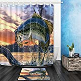 Bass Fishing Shower Curtain NYMB Fishing Shower Curtain, Bass Fish with Hook Out of Ocean at Sunrise, Fisherman 69X70in Polyester Lucky Fabric Curtains Set 15.7x23.6in Flannel Non-Slip Floor Doormat Entrance Mats