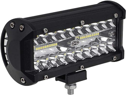 1x Led Fernscheinwerfer Scheinwerfer Light Bar 7 10cm 120 Watt 40x Cree Led Super Hell Mit Ece Zulassung Eintragungsfrei Straßenzulassung Auto