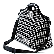 Neoprene Lunch Tote ,Insulated Waterproof Lunch Bags For Men, Women, Adults, Kids, Girls. Reusable, Washable, Water-proof Foldable, Light, Zipper (BLACK)
