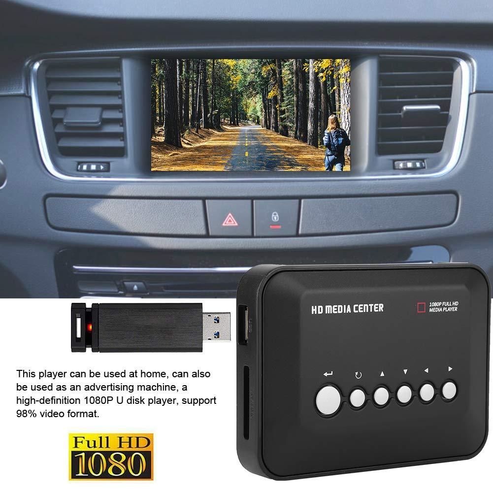 schwarz Schwarz ASHATA HDMI Media Player Mini 1080P Full-HD Ultra-HDMI-Digital-Multimedia-Player mit Adapter und Fernbedienung f/ür -MKV//RM- MMC-USB-Laufwerke und SD-Karten Car HD Player