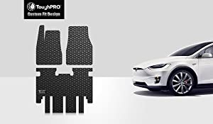 TOUGHPRO Floor Mat Accessories Set (Front Row + 2nd Row) Compatible with Tesla Model X (5 Seater) - All Weather - Heavy Duty - (Made in USA) - Black Rubber - 2016, 2017, 2018, 2019, 2020