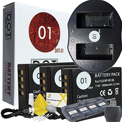 DOT-01 3X Brand Fujifilm X-H1 Batteries and Charger for Fujifilm X-H1 Mirrorless and Fujifilm X-H1 Battery and Charger Bundle for Fujifilm NPW126 NP-W126 by DOT-01