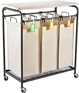 Sunix Rolling Laundry Sorter, 3 Heavy-Duty Bag Laundry Cart with Folding Ironing Board,Beige