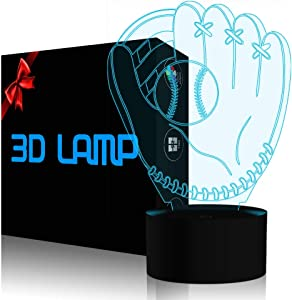 3D Illusion Desk Lamp Baseball Glove Model, YKL World LED USB Touch Button 7 Color Changing Lights Night Light for Baby Nursery, Best Gift Toys for Kids Friends Birthday Home Bedroom Decor Lighting