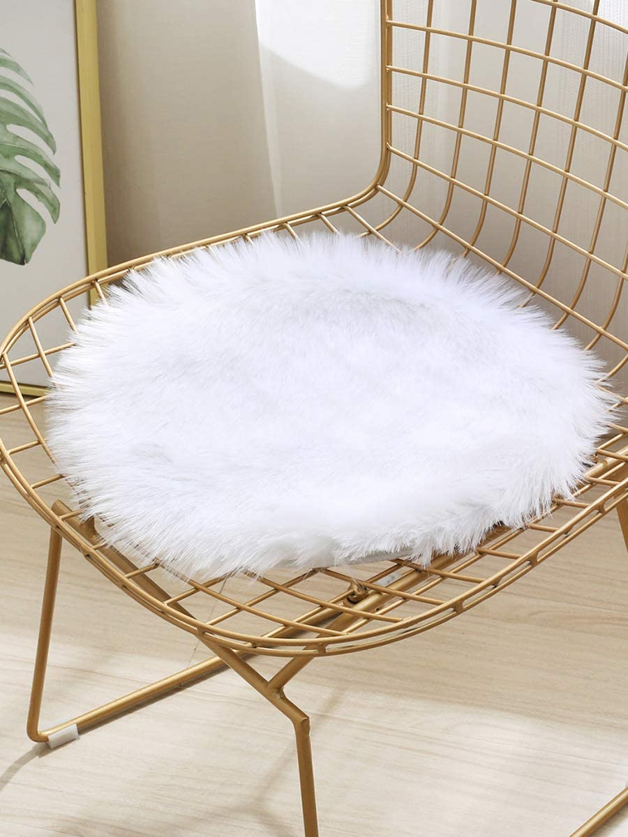 Faux Sheepskin Fur Area Rug Fluffy Rugs Ultra Soft Floor Carpet for Bedroom Living Dining Room Home Decor,Chair Cover Sofa Seat Cushion Pad (1.2 ft Round, White)