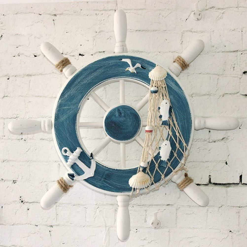 Fisch Holz Steuerrad mit Fischernetz mediterranen Stil f/ür Wanddeko ProLeo Strand Holzboot Schiff Lenkrad Maritime Anh/änge Fischernetz Wanddekor Rudder Ornament Haken deko