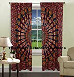 Indian Peacock Mandala Cotton Hippie Tapestry Door Cutain Decor Window Curtains Drape Room Curtain Balcony by Handicraftspalace