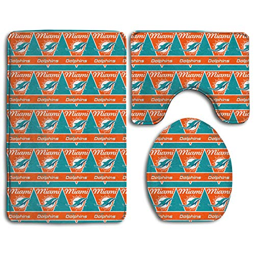 Marrytiny Design Colorful Non Slip 3 Piece Doormat American Football Team Miami Dolphins Anti-Skid Bathroom Rug Set Bath Mat + Contour Rug + Toilet Lid Cover