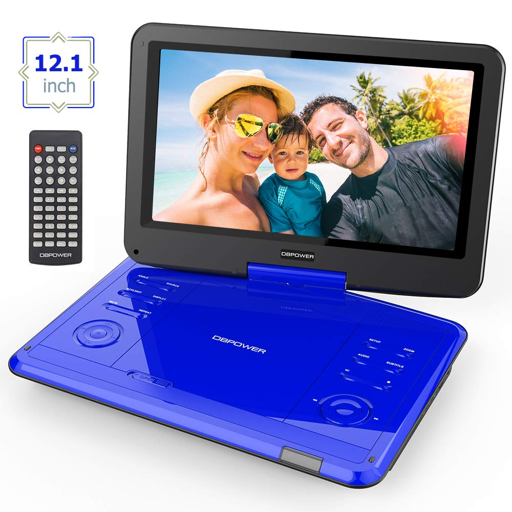 DBPOWER 12.1'' Swivel Screen Portable DVD Player with Rechargeable Battery, Supports SD Card and USB, with 1.8M Car Charger and 1.8M Power Adaptor (Blue)