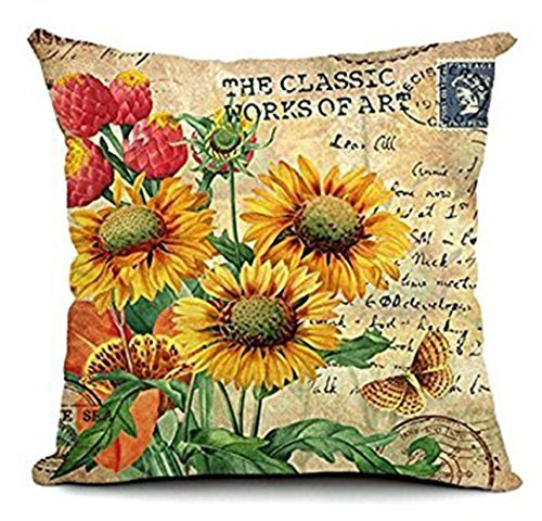 Decorbox Vintage Colorful Sunflower farm Butterfly Decorative Hand Made Cushion Cover with Invisible Zipper Woven Pillow Cover Cotton Linen Throw Cushion Cover for Living Room 18 x 18 Inch 1 Piece