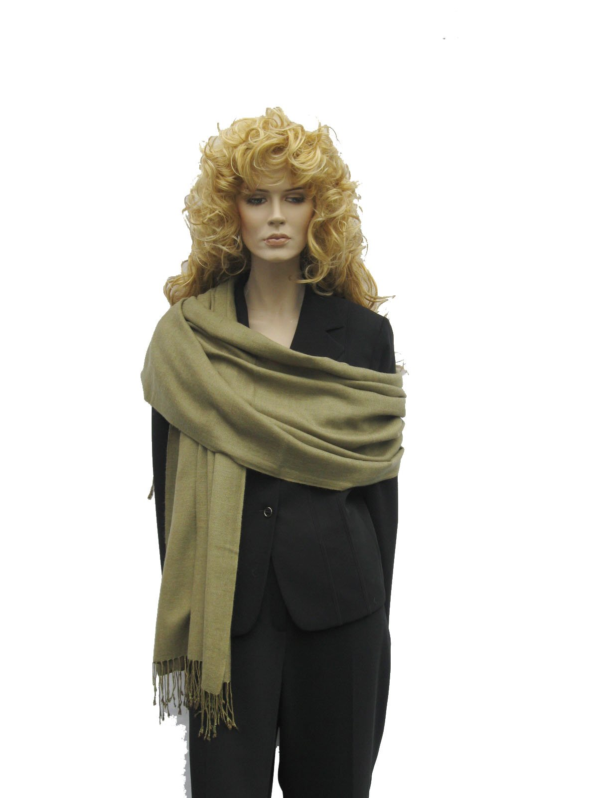 Scarf/Shawl/Wrap/Stole/Pashmina Shawl in solid color from Cashmere Pashmina Group (Regular Size) - Light Olive Green