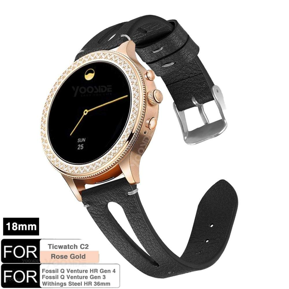 YOOSIDE for Fossil Q Venture Leather Watch Band,18mm Quick Release Classics Soft Matte Leather Watch Band Strap for Ticwatch C2 Rose Gold,Fossil Q ...